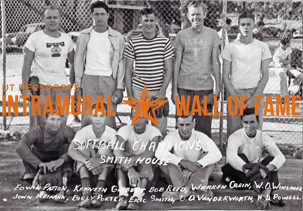 Softball, Champion Smith House Edwin Patton, Kenneth Gilbert, Bob Reed, Warren Crain, W.O. Winsauer, John Heiman, Billy Porter, Eric Smith, O.D. Vanderworth, H.D. Powell