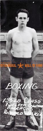 Boxing, Runner Up 135 lb. Class Twelfth Company Barracks  Richard Walker