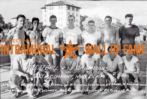 Softball, V12, Champion Sixth Company, NAVY, Dorm K J.T. Well, W.A. Rees, C.W. Virgil, W.M. Punch, Lou Tinnerello, E.E. Moore, N. Yatchmenoff, Bob Williamson, Dick Wehner, Bill Anderson, Joe Jones, Al Suekut, Bob Carey