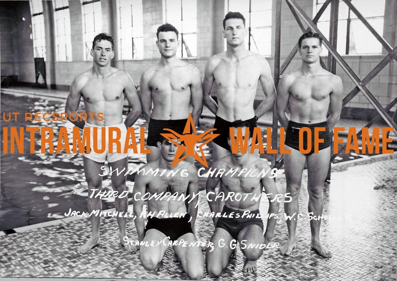 Swimming Champions Third Company Carothers Jack Mitchell, P.H. Allaen, Charles Phillips, W.C. Schoeler, Stanley Carpenter, G.G. Snider