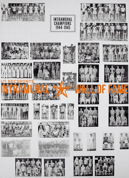 Picture of the 1944 - 1945 Intramural Champions on the Wall of Fame inside Gregory Gym