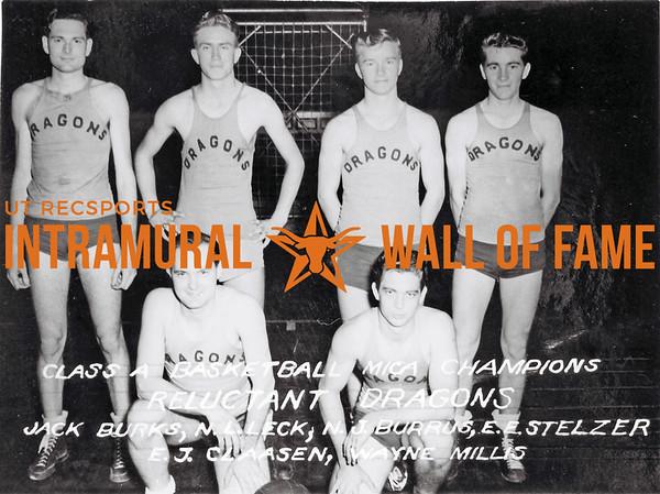 Basketball, Class A, MICA Champion Reluctant Dragons Back Row (L-R): Jack Burnks, N.L. Leck, N.J. Burrus, E.E. Stelzer Front Row (L-R): E.J. Claasen, Wayne Millis