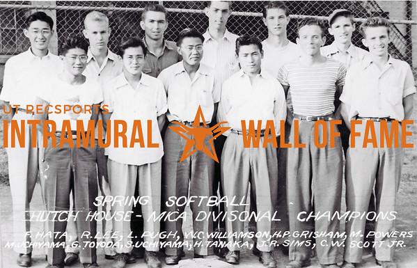 Spring, Softball, MICA Divisional Champion Hutch House F. Hata, R. Lee, L. Pugh, W.C. Williamson, H.P. Grisham, M. Powers, M. Uchiyama, G. Toyoda, S. Uchiyama, H. Tanaka, J.R. Sims, C.W. Scott Jr.