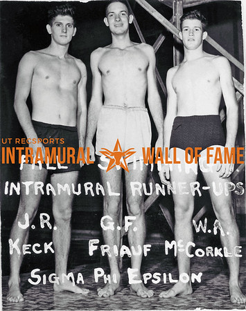 Fall Swimming, Runner Up Sigma Phi Epsilon L-R: J.R. Keck, G.F. Friauf, W.A. McCorkle