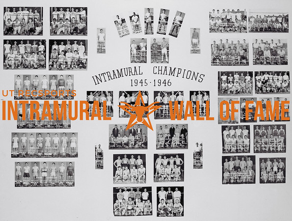 Picture of the 1945 - 1946 Intramural Champions on the Wall of Fame inside Gregory Gym