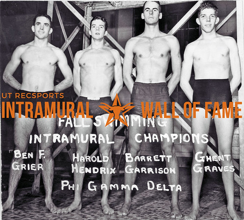 Fal Swimming, Champion Phi Gamma Delta L-R: Ben F. Grier, Harold Hendrix, Barrett Garrison, Ghent Graves