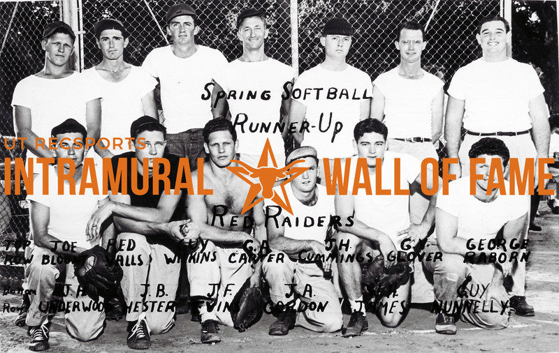 Spring Softball, Runner Up Red Raiders Top Row (L-R): Joe Blount, Red Valls, Yuy Wilkins, Guy, G.A. Carter, JH. Cummings, G.V. Glover, George Raborn Bottom Row (L-R): J.H. Underwood, J.B. Hester, J.F. Evins, J.A. Gordon, Rich James, Guy Nunnelly