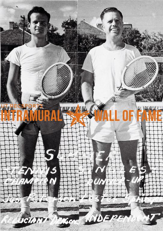 Summer Tennis Singles Champion: James Peterson, Reluctant Dragons  Runner Up: Lester Springer, Independent