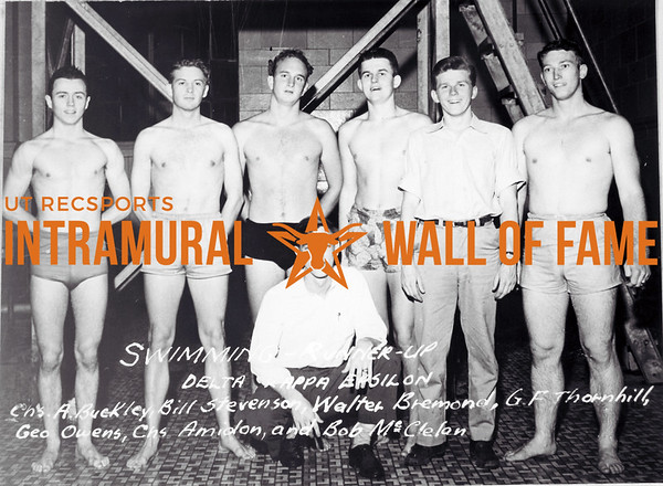 Swimming Runner Up Delta Kappa Epsilon L-R: Charles A. Buckley, Chris, Bill Stevenson, Walter Bremond, G.F. Thornhill, George Owens, Chris Amidon, Charles, Bob McClelan