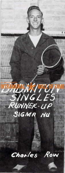 Badminton, Singles Runner Up Sigma Nu Charles Row