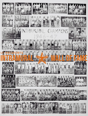 Picture of the 1946 - 1947 Intramural Champions on the Wall of Fame inside Gregory Gym