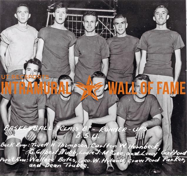 Basketball, Class B Runner Up B.S.U. Back Row (L-R): Truett H. Thompson, Carlton W. Hornbeck, G. Gilbert Tubb, Louie J. McGee, Leroy Gafford Front Row (L-R): Wallace Bates, George W. Hyland, Crawford Parker, Dean Trubee