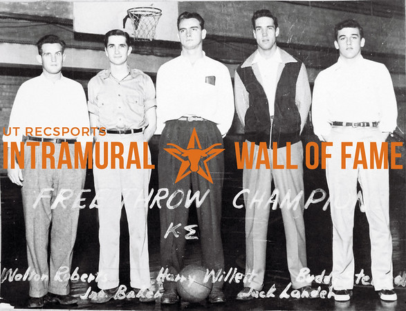 Free Throw Champion Kappa Sigma L-R: Walton Roberts, John Baker, Harry Willett, Jack Landers, Clarence Stensel