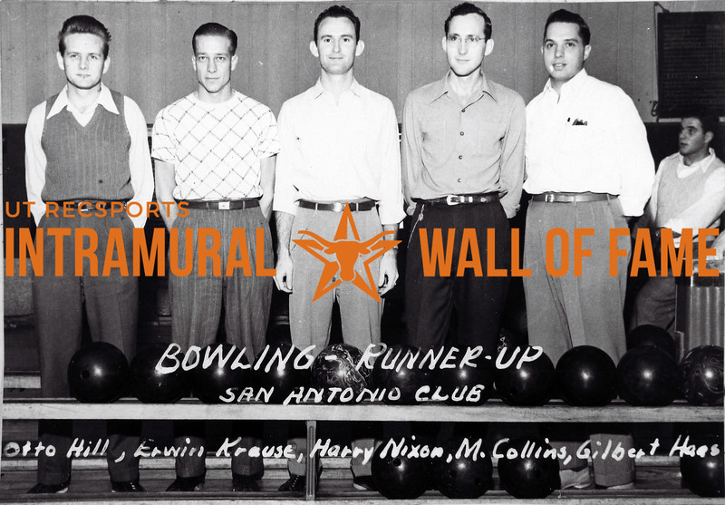 Bowling Runner Up San Antonio Club L-R: Otto Hill, Erwin Krause, Harry Nixon, M. Collins, Gilbert Haes