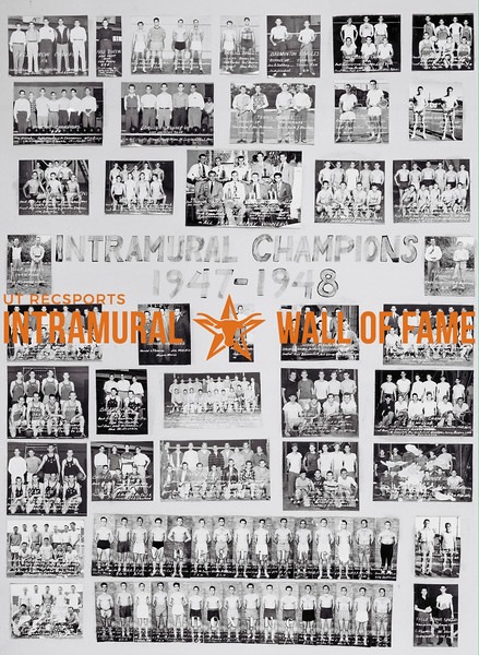 Picture of the 1947 - 1948 Intramural Champions on the Wall of Fame inside Gregory Gym
