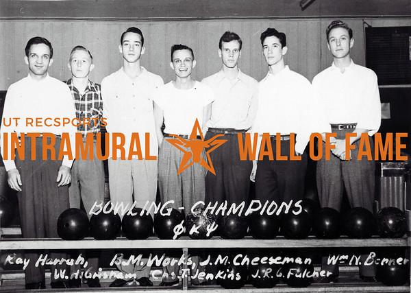 Bowling Champions Phi Kappa Psi L-R: Ray Harrah, B.M. Works, J.M. Cheeseman, William N. Berner, W.H. Grisham, Charles T. Jenkins, J.R.G. Fulcher
