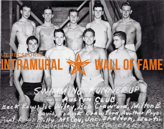 Swimming Runner Up Austin Club Back Row (L-R): Joe Wiley, Bob Crawford, Milton B. Davis, Frank Crawford, Aurthor Pryor, Arthur Pryor Front Row (L-R): Billy McCoy, Jnc. Shelton, Martin Anderson, Earl Kenetzky