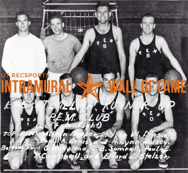 Basketball, Class A Runner Up P.E.M. Club Top Row (L-R): Milton Nipper, Milton Deason, Troy Enis, H. Lynn Hulsey Bottom Row (L-R): G.W. Hyland, C.B. Sumrall, Paul E. Campbell, Elford E. Stelzer