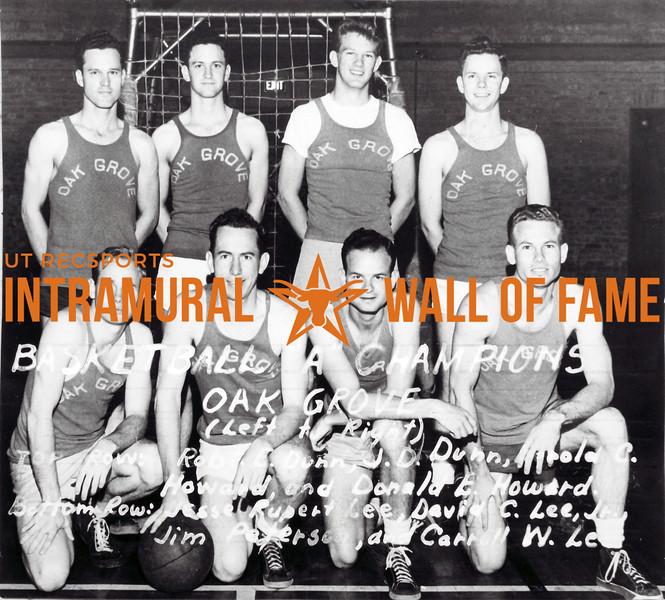 Basketball, Class A Champion Oak Grove Back Row (L-R): Robert E. Dunn, J.D. Dunn, Corky Howard, Donald E. Howard Front Row (L-R): Jesse R. Lee, David C. Lee, Jr., Jim Peterson, Carroll W. Lee