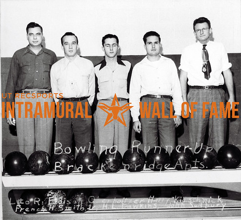Bowling Runner Up Brackenridge Apartments L-R: Edison Oberholtzer, Harry Kleschnick, French H. Smith, Herbert Dawkins, John Sudbury