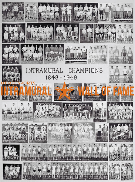 Picture of the 1947 - 1949 Intramural Champions on the Wall of Fame inside Gregory Gym