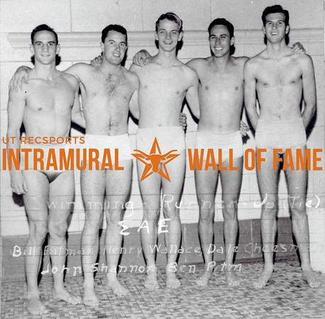 Swimming Runner Up, Tie Sigma Alpha Epsilon L -R: Bill Patman, Dale Cheeseman, John Shannon, Ben Pittman, Rody Pittman
