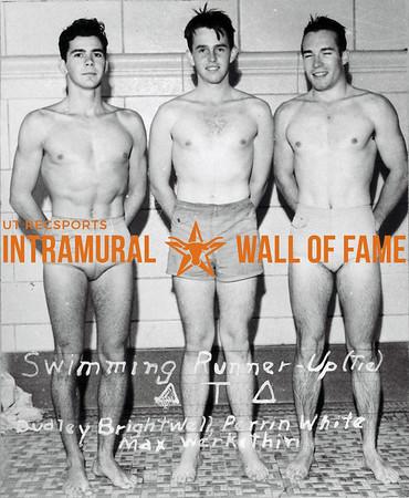 Swimming Runner Up, Tie Delta Tau Delta L-R: Dudley Brightwell, Perrin White, Max Werkenthin