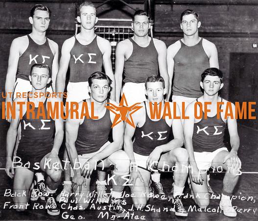 Basketball, Class A Champion Kappa Sigma Back Row (L-R): Harry Willett, Joe Row, Frank Champion, Jr., Paul Williams Front Row (L-R): Charles Austin, J.H. Shands, Malcolm Perry, George Macatee