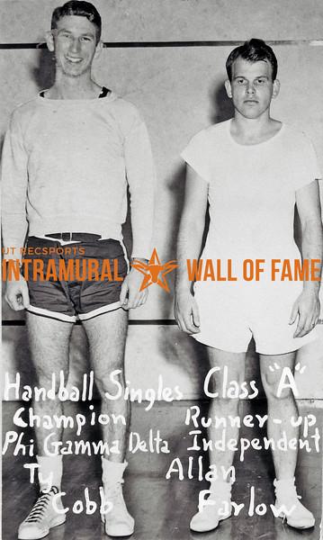 Handball Singles, Class A Champion:  Phi Gamma Delta, Ty Cobb Runner-up:  Independent, Allan Farlow