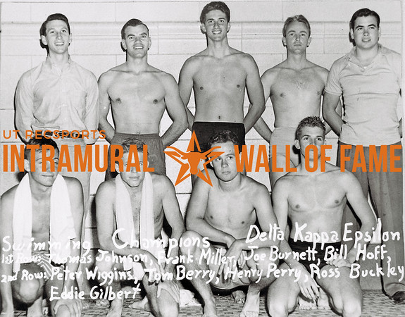 Swimming, Champions Delta Kappa Epsilon First Row (L-R):  Thomas Johnson, Frank Miller, Joe Burnett, Bill Hoff Second Row:  Peter Wiggins, Tom Berry, Henry Perry, Ross Buckley, Eddie Gilbert