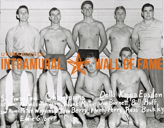 Swimming, Champions Delta Kappa Epsilon First Row (L-R):  Thomas Johnson, Frank Miller, Joe Burnett, Bill Hoff Second Row:  Peter Wiggins, Tom Berry, Henry Perry, Ross Buckley, Eddie Gilbert