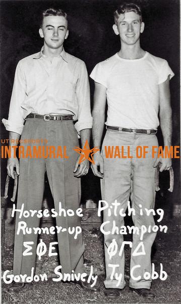 Horseshoe Pitching Runner-up:  Sigma Phi Epsilon, Gordon Snively Champion:  Phi Gamma Delta, Ty Cobb