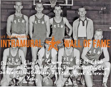 Basketball, Class A Champions P.E.M. Club First Row (L-R):  Bob Clark, Carl Gustafson, Elfred Steltzer, Don Clark Second Row:  Clifford Gustafson, Jack Keitz, Frank Hafernick, Carl Yancy
