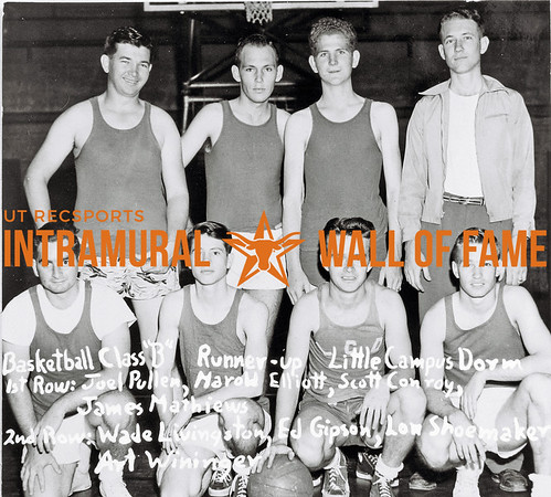 Basketball, Class B Runner-Up Little Campus Dorm First Row (L-R):  Joel Pullen, Harold Elliott, Scott Conroy, James Mathiews Second Row:  Wade Livingston, Ed Gipson, Lon Shoemaker, Art Wininger