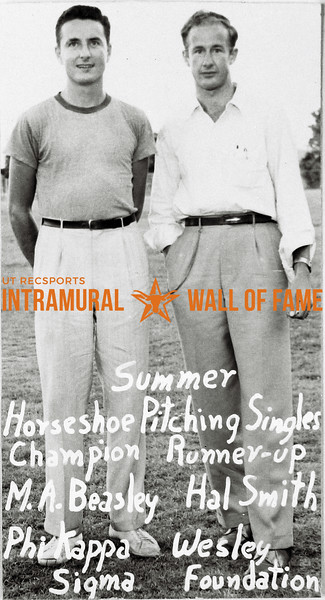 Summe Horseshoe Pitching Champion:  M.A. Beasley, Phi Kappa Sigma Runner-up:  Hal Smith, Wesley Foundation