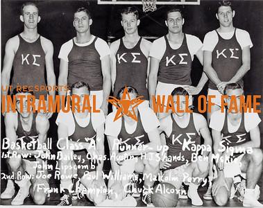 Basketball, Class A Runner-Up Kappa Sigma First Row (L-R):  John Bailey, Charles Austin, H.J. Shands, Ben McKie, John Lipscomb Second Row:  Joe Rowe, Paul Williams, Malcolm Perry, Frank Champion, Chuck Alcorn