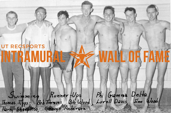 Swimming, Runners-Up Phi Gamma Delta Thomas Tipps, Bob Timmons, Bob Wood, Lorell Davis, Jim Wood, Harry Sharpless, George Anderson