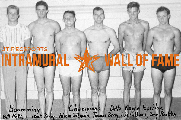 Swimming, Champions Delta Kappa Epsilon Bill Hoff, Hank Perry, Hiram Johnson, Thomas Berry, Joe Caldwell, Tony Buckley