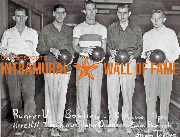 Bowling, Runner-Up Pi Kappa Alpha Herb Hill, T. Primeaux, John Dudgeon, Sam Parrish, Brown Tomme