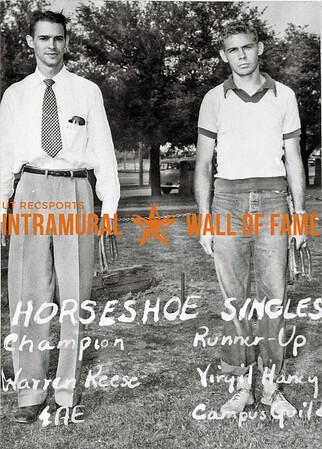 Horseshoes, Singles Champion, Warren Rees, Sigma Alpha Epsilon Runner-Up, Virgil Harvey, Campus Guild