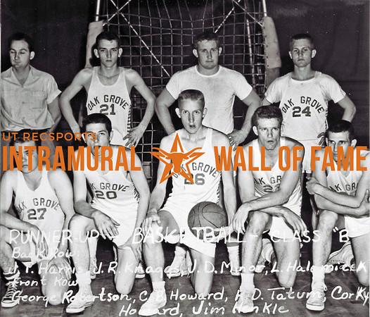Basketball, Class B Runner-Up Oak Grove Back Row (L-R):  Joe Tom Harris, John R. Knaggs, Joe D. Minor, Lynn C. Halamicek Front Row:  George Robertson, Charles B. Howard, Ralph D. Tatum, Corky Howard, James W. Henkle