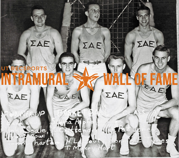 Basketball, Class A Runner-Up Sigma Alpha Epsilon Back Row (L-R):  John H. Seale, Tom Crittenden, J. Pat Jones Front Row:  Tom H. Wharton, H. Lee Douty, Ronald E. Tynes, T. Maxey Hart