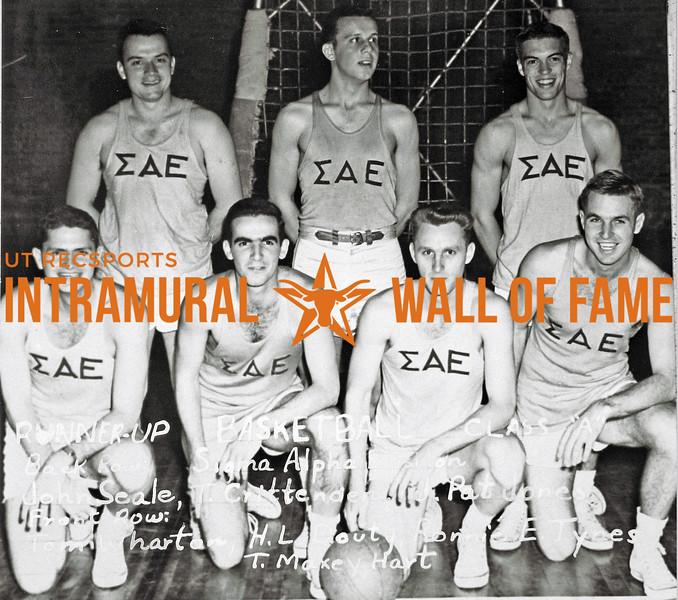 Basketball, Class A Runner-Up Sigma Alpha Epsilon Back Row (L-R):  John H. Seale, Tom Crittenden, J. Pat Jones Front Row:  Tom H. Wharton, H. Lee Douty, Ronald E. Tynes, T. Maxey Hart