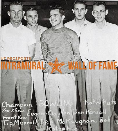Bowling, Champion Kotzy Kats Back Row (L-R):  Eugene Clayton, Don Kendall Front Row:  Tip Murrell, Dick McKaughan, Bob Kotzebue
