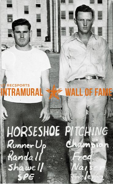 Horseshoes Runner-Up:  Randall Shawell, Sigma Phi Epsilon Champion:  Fred Naiser, Theleme
