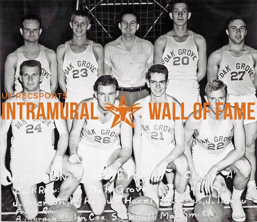 Basketball, Class A Champion Oak Grove Back Row (L-R):  James Peterson, Wayne M. Hay, Joe Tom Harris, George J. Petrus, Jerry T. Tomsu Front Row:  Bob C. Morgan, John B. Cox, Scott A. McGall, Max H. Smith