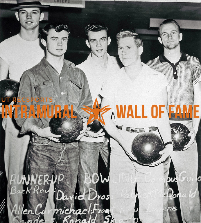 Bowling, Runners-Up Campus Guild Back Row (L-R):  David Cross, Patrick McDonald, Alan R. Carmichael Front Row:  Eugene Sanders, Russell Sharp