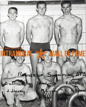 Swimming, Runner-Up Delta Tau Delta Back Row (L-R):  David Williams, John Wymer, Fred Nagle Front Row:  John Jacoby, Mack Lynn, Larry Lynn