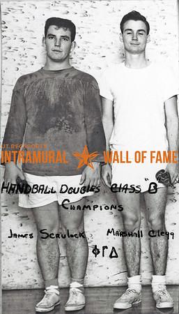 Handball Doubles, Class B Champions James Scrulock, Marshall Clegg, Phi Gamma Delta
