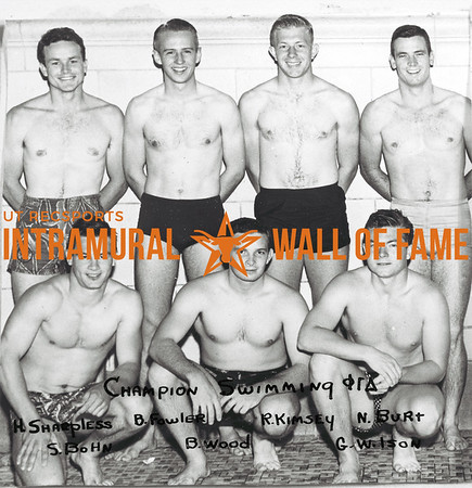 Swimming, Champion Phi Gamma Delta Back Row (L-R):  Harry Harpless, Bob Fowler, Ray Kimsey, Neson Burt Front Row:  Skippy Bohn, Bob Wood, Graham Wilson